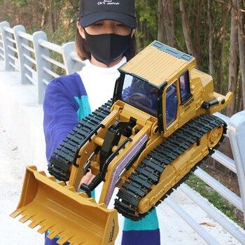 1:16 rc caminhão bulldozer dumper caterpillar trator modelo de engenharia escavadeira carro empurrar solo música efeitos iluminação crianças brinquedos