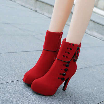 2019 nuevas botas de tobillo a la moda para mujer, zapatos de tacón alto, zapatos rojos de plataforma para mujer, botas con hebilla para mujer, zapatos de talla grande 35-42