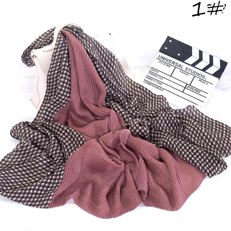 S34 10pcs High Quality Crinkle Hijab Wrinkle Scarf Cotton Viscose  Scarf Crinkle Plain Muslim Headband Hijab Scarf