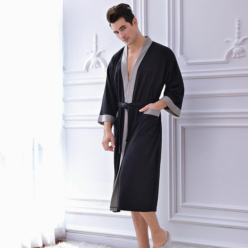 Solid Color Bathrobe For Shower Autumn Sleeping Robe For Men Cotton Dressing Gown Man Bathrobe