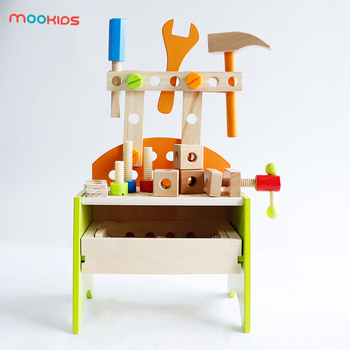Mookids Games Workshop Wooden Tool Box Table Work bench Workshop Pretend Play Role Playing Game Educational Toys for Kids фото