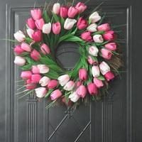 Artificial Tulip Wreath Simulation Wreath DIY Home Party Wedding Decoration Garden Crown Decoration