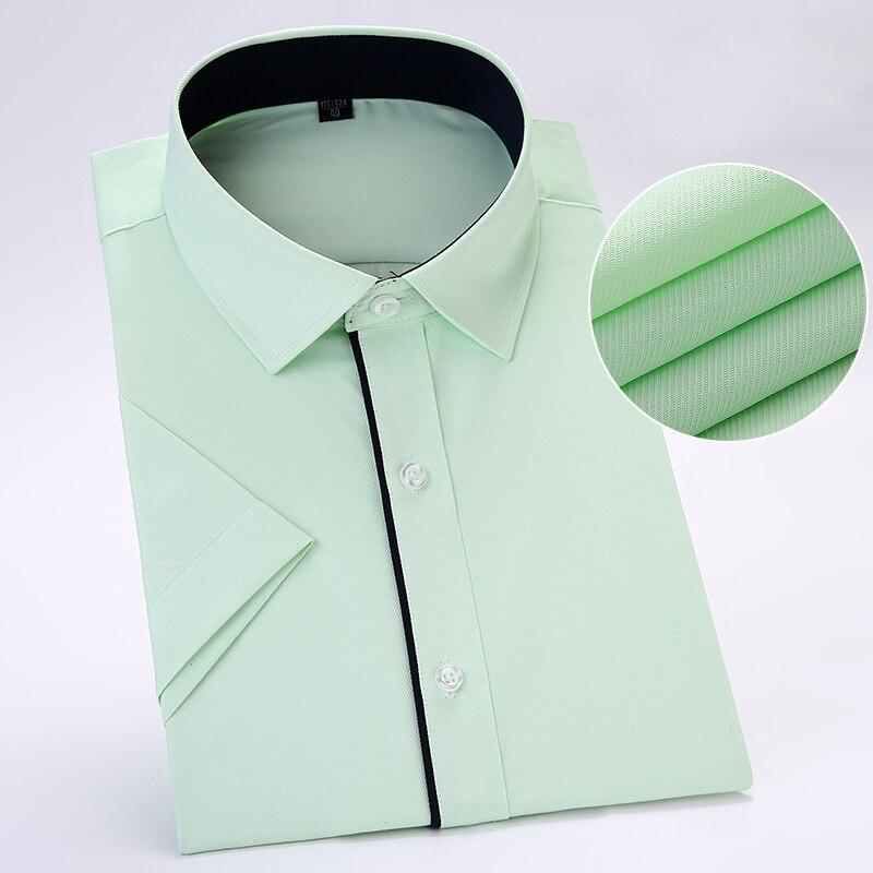 Без нагрудного кармана летние с коротким рукавом Саржевые деловые мужские вечерние рубашки облегающие мягкие удобные - Цвет: D29012