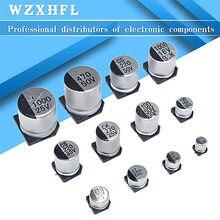 10 Uds SMD condensador electrolítico de aluminio 6,3 V 10V 16V 25V 35V 50V 1UF 2,2 UF 4,7 UF 10UF 47UF 100UF 220UF 330UF 470UF 1000UF