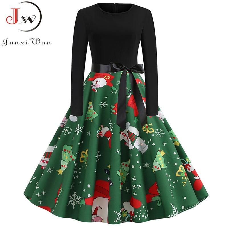 2019 Women Elegant Vintage Print A-line Party Christmas Dress Plus Size Black Patchwork Long Sleeve Slim Casual Winter Dresses