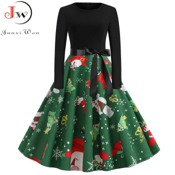 2019 Women Elegant Vintage Print A-line Party Christmas Dress Plus Size Black Patchwork Long Sleeve Slim Casual Winter Dresses