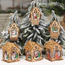 Creative Wooden House Shaped Pendant Cartoon Doll Drop Ornament with Light Christmas Window Table Festival Decoration