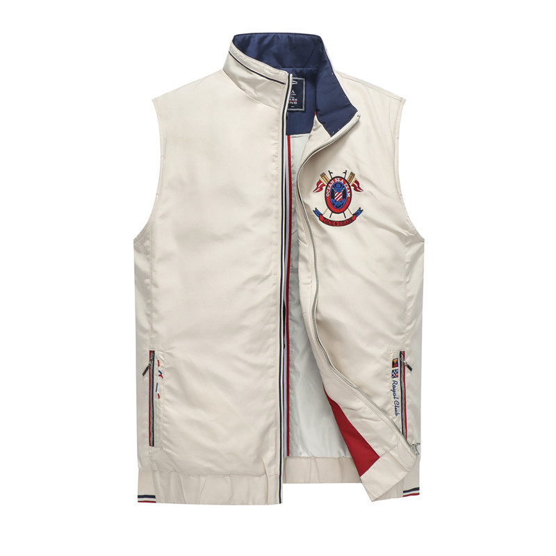 Fashion Brand Tace & Shark Vest Men colete masculino inverno Casual Letter Embroidery Stand Collar Waistcoat Sleeveless Jacket