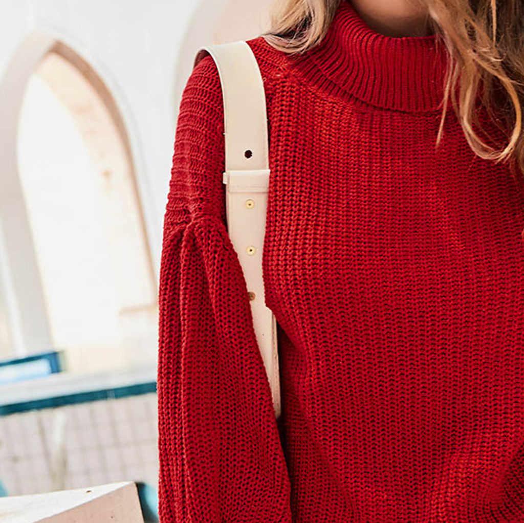 Womail 2019 חדש חורף סוודר נשים של גולף גבירותיי סוודר ארוך שרוול מקרית מוצק בסוודרים נשים סוודר אדום
