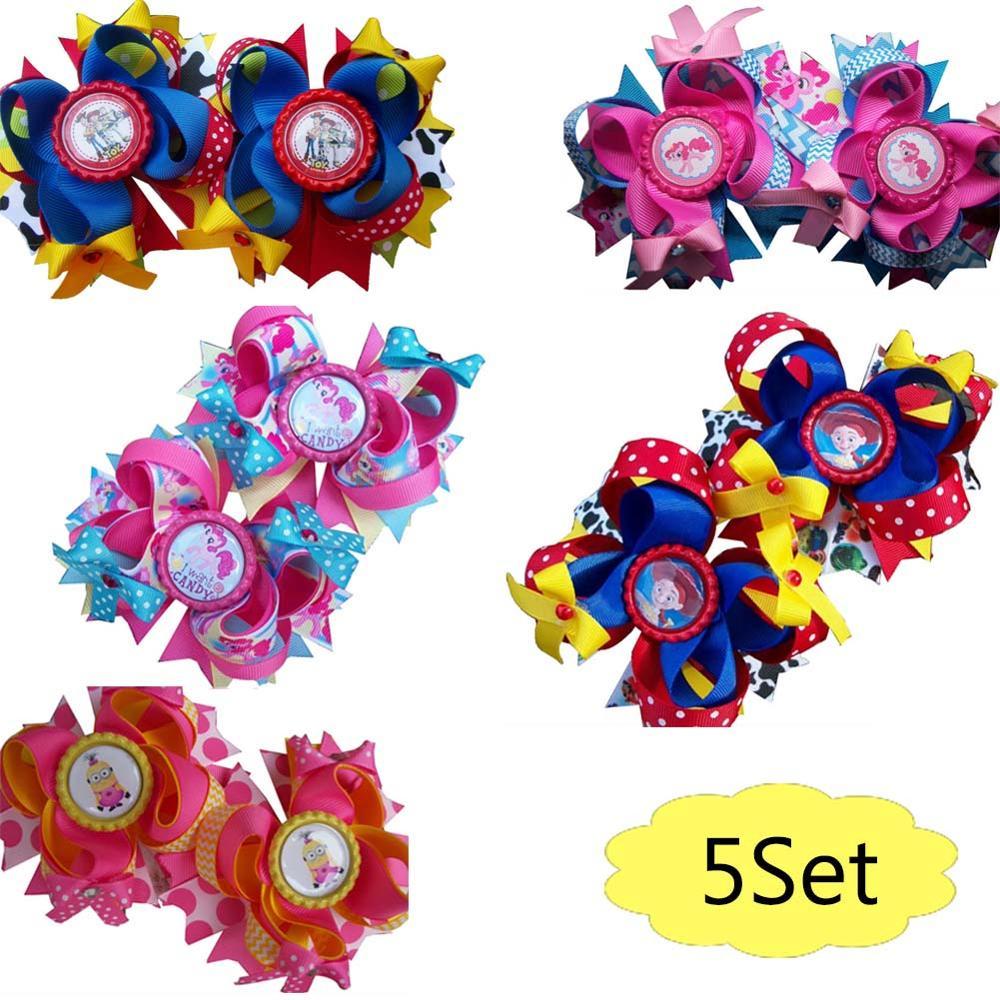 Free Shiping 5set 3.5''PigTail Hair Bow SET Character Hair Clips Cartoon Hair Bows