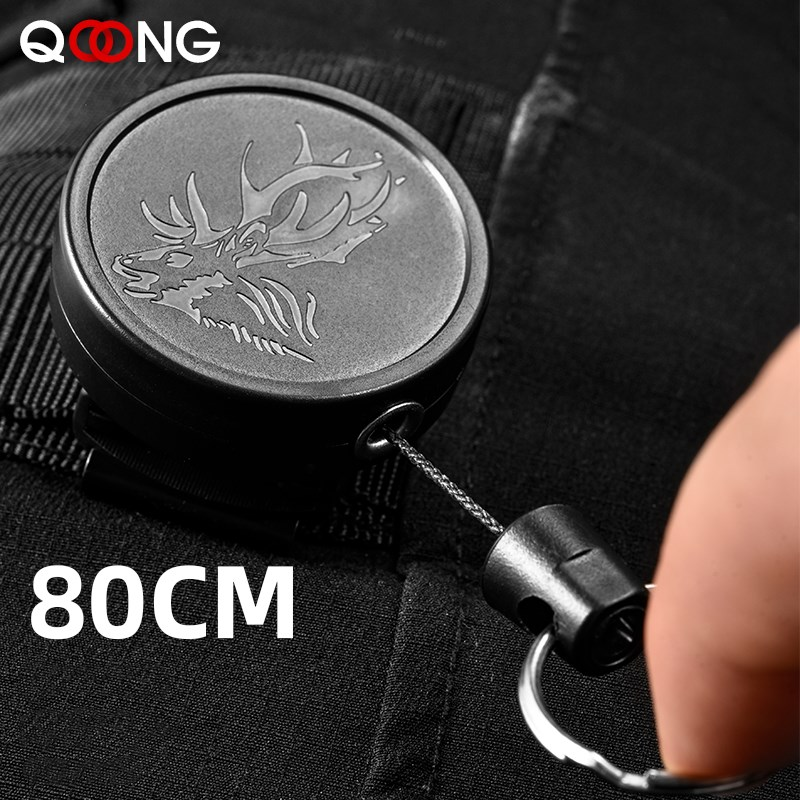 80CM Wire Rope Camping Telescopic Burglar Chain Key Holder Tactical Keychain Outdoor Key Ring Return Retractable Key Chain H23