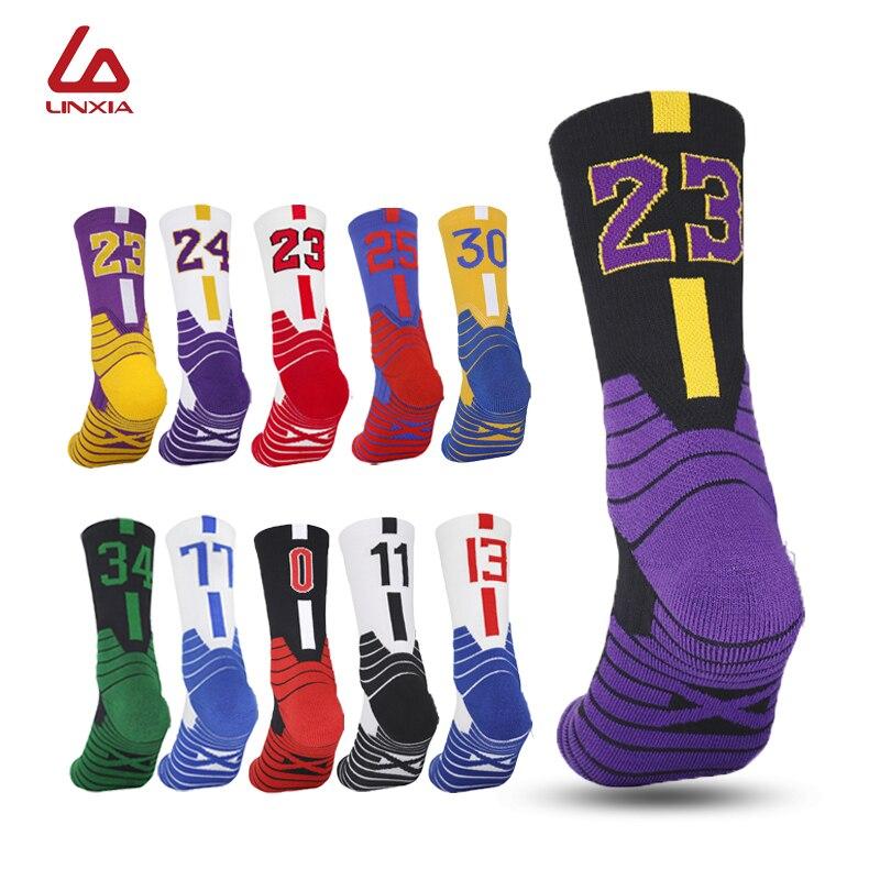 Мужские баскетбольные носки с цифрами, спортивные носки до колена, утолщенные Носки для бега и езды на велосипеде, детские носки для взрослы...