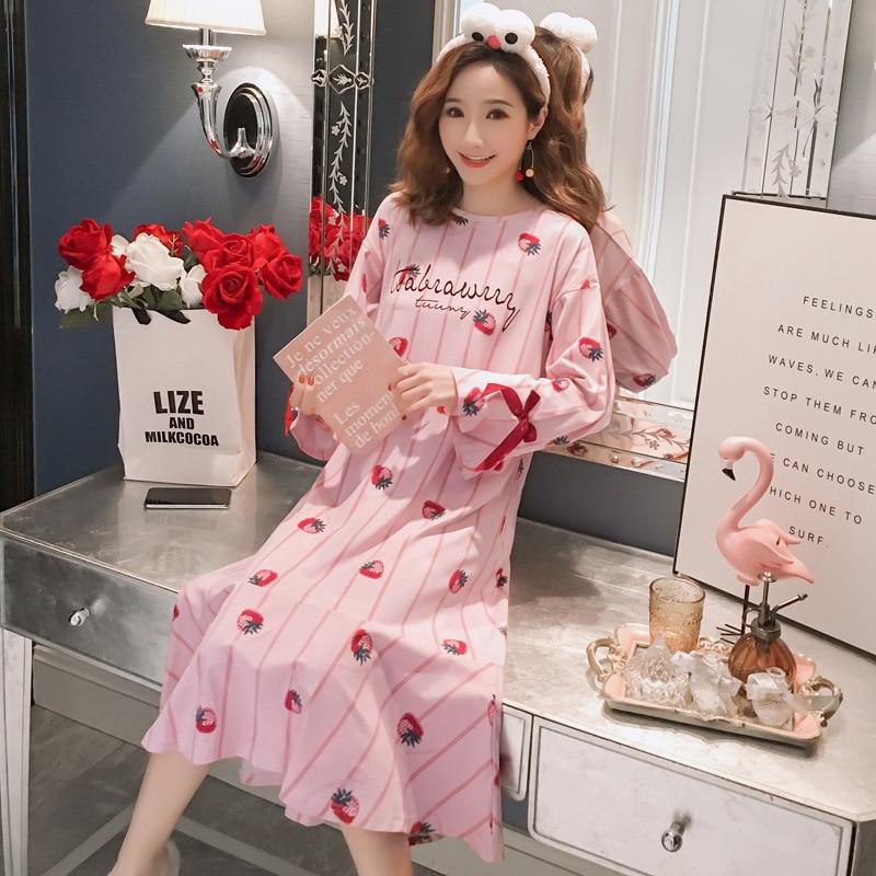 Cotton Nightdress Women Autumn Winter Nightgowns Female Long Sleeved Night Dress Simple Indoor Batas De Dormir Mujer Home Dress