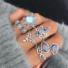 Conjunto de anillo geométrico de cristal Vintage bohemio para señora ópalo resina elefante flor nudillo dedo Midi anillo joyería 2019