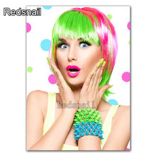 Diy Diamant malerei Bunte haar make-up schönheit Malerei Kalligraphie Poster diamant stickerei mosaik kit 5d hand TT2036(China)