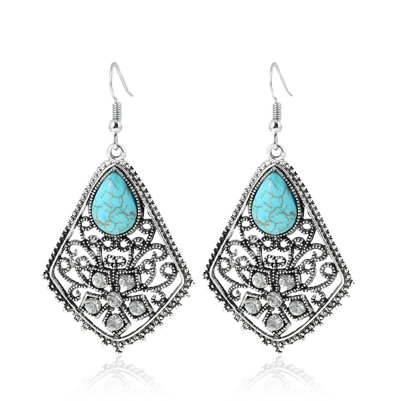 Gorgeous Women Earrings Bohemia Water Drop Engraving Natural Stone Turquoised Earrings Features Texture Stone Earring Jewelry in Drop Earrings from Jewelry Accessories