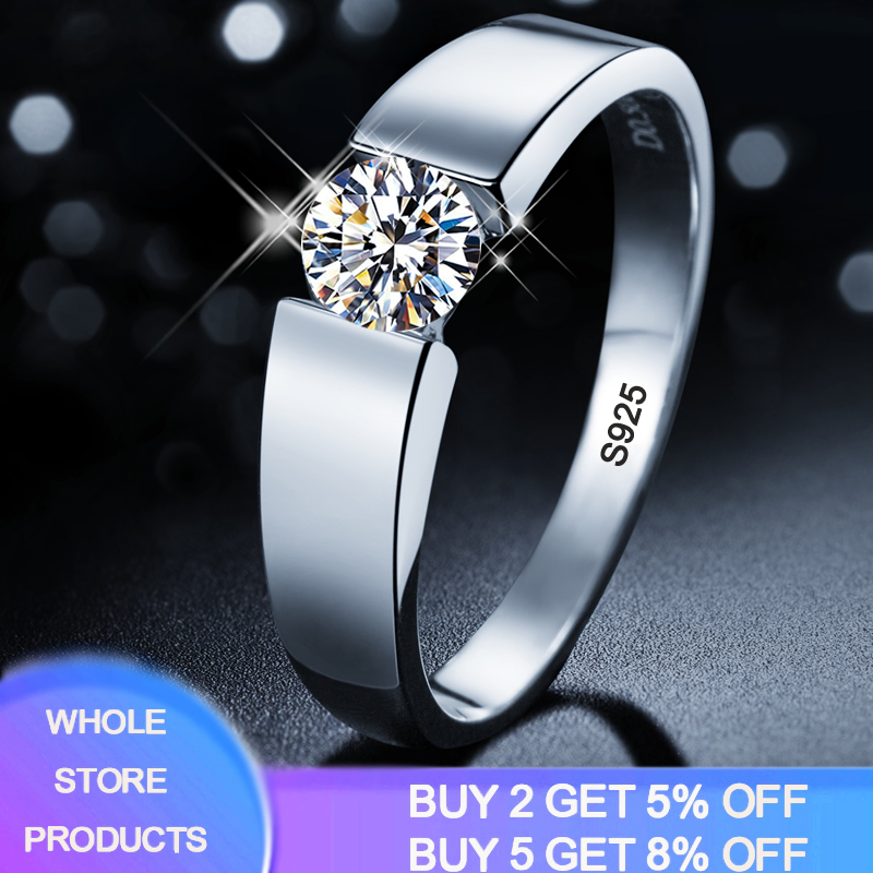 Classic 1 Carat Zirconia Diamond Wedding Engagement <font><b>Rings</b></font> <font><b>for</b></font> <font><b>Men</b></font> S925 <font><b>Sterling</b></font> <font><b>Silver</b></font> Jewelry Brand <font><b>Men</b></font> <font><b>Ring</b></font> With Certificate image