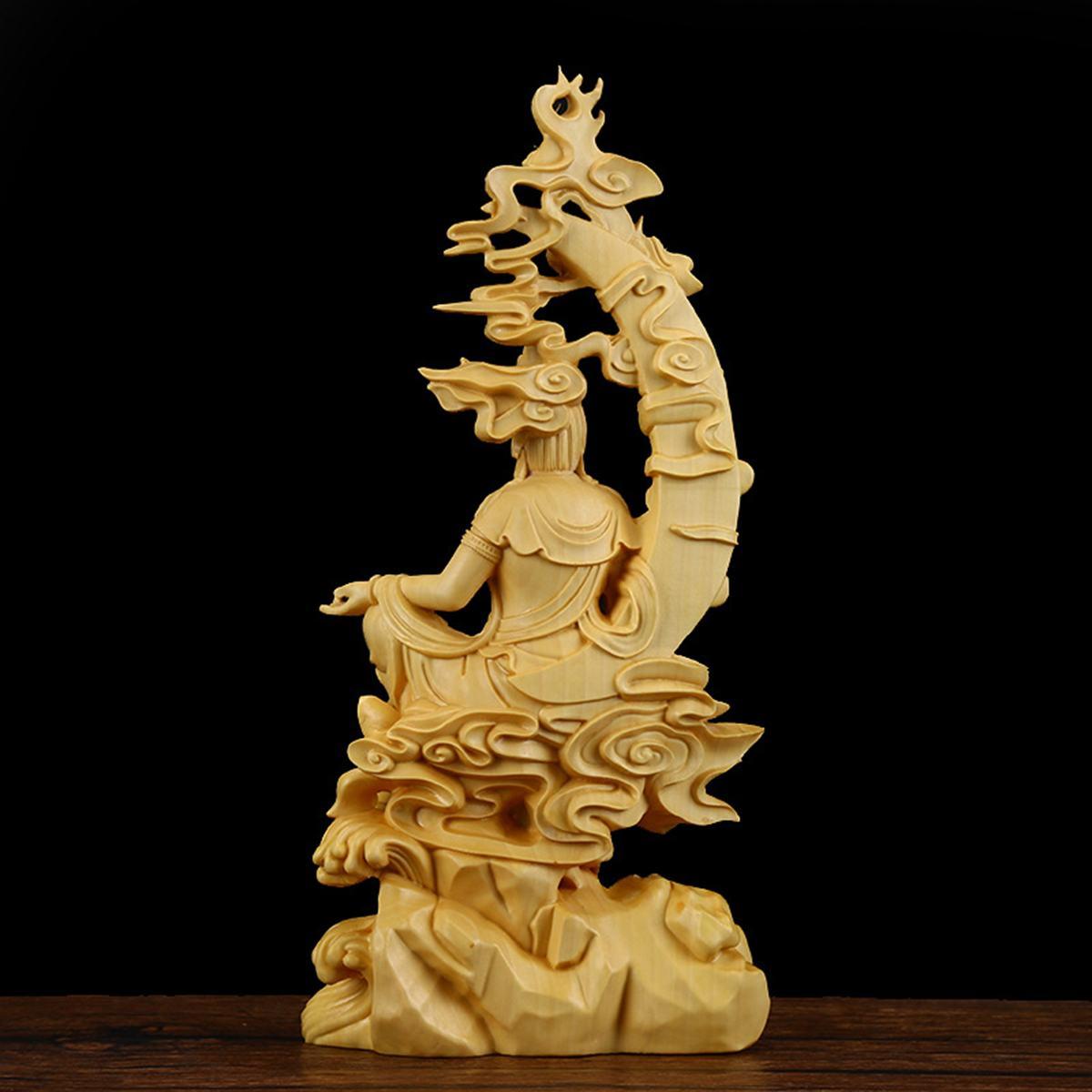 18X8.5X4CM Boxwood Wood Carving Buddha Statue Hindu Fengshui Figurine Handmade Bodhisatva Sculpture Craft Home Decoration Gifts Statues & Sculptures     - title=