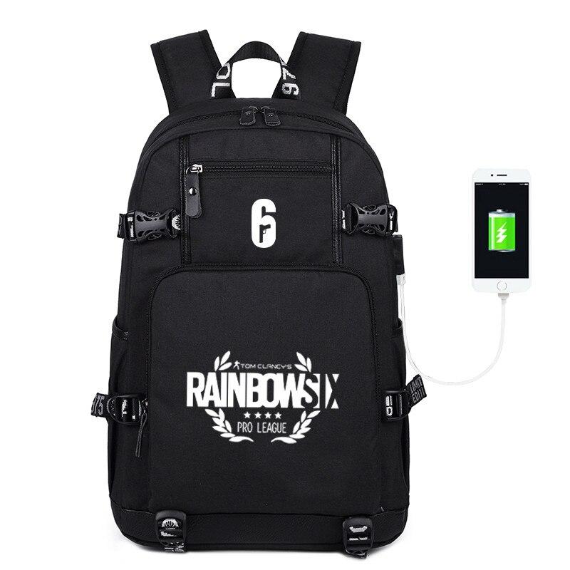 Vapeur pluie arc Six Sieg jeu USB sac à dos sac lueur dans l'obscurité sacs de voyage hommes femmes étudiant sac à dos pour ordinateur portable avec Port USB