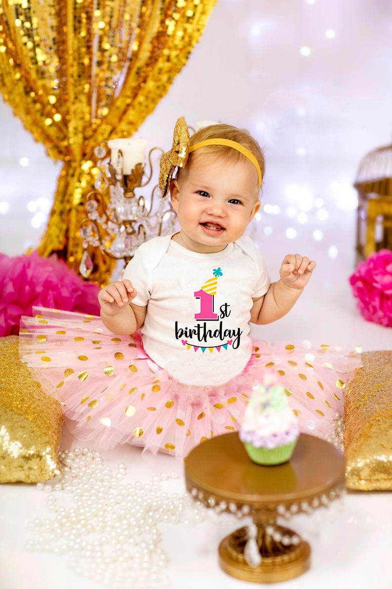 Newborn Baby Short-sleeved My First Birthday Letter Print Girls Pink Tutu Cake Outfits Girls Dresses Cloth Suit Baby Shower Gift