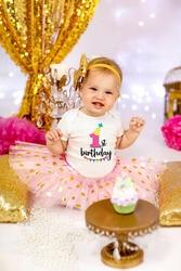 Костюм для новорожденных девочек с коротким рукавом и надписью «Мой первый день рождения»