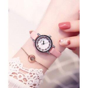 Image 4 - Dame frauen Uhr Julius Japan Quarz Stunden Uhr Mode Leder Armband Shell Strass Geburtstag Mädchen Weihnachten Geschenk