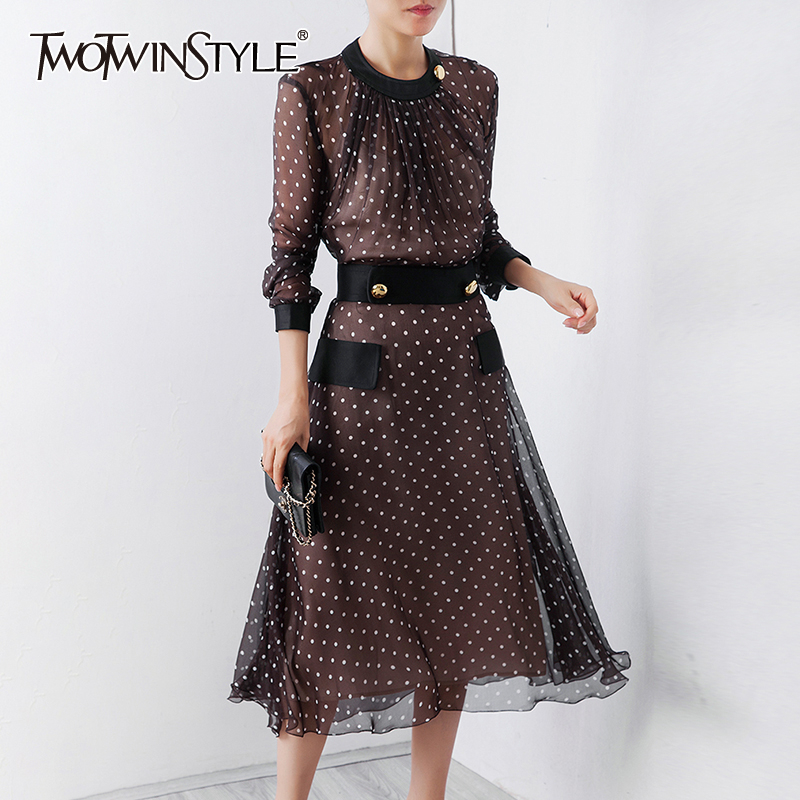 TWOTWINSTYLE Polka Dot Dress For Women Long Sleeve O Neck High Waist A Line Female Dresses With Vest 2019 Autumn Fashion New