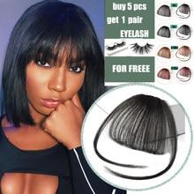 Frange à Clip pour femmes, extension capillaire, faux cheveux