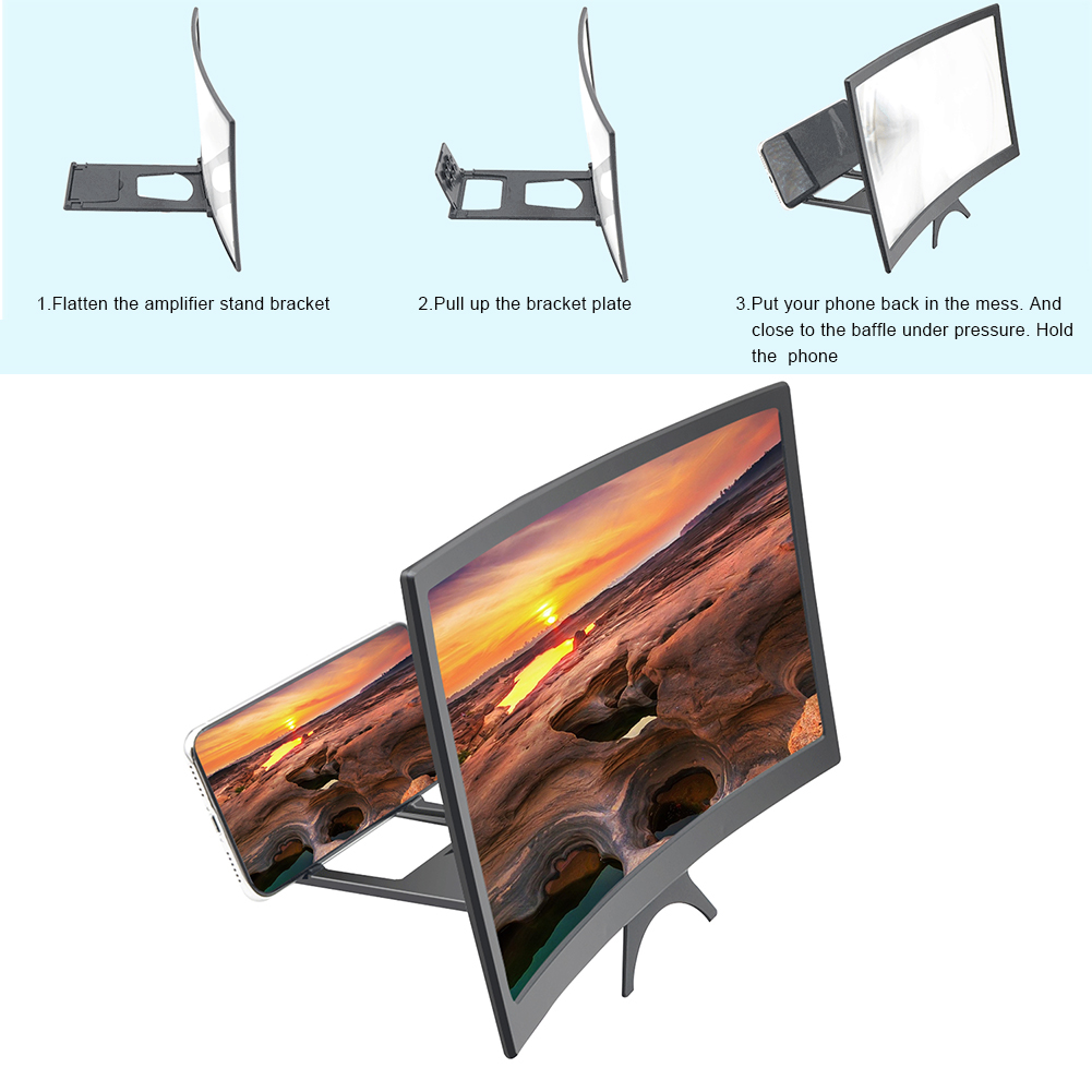 3D 12 дюймов экран мобильного телефона HD усилитель увеличительное стекло универсальный видео усилитель смартфон Стенд складной настольный к...