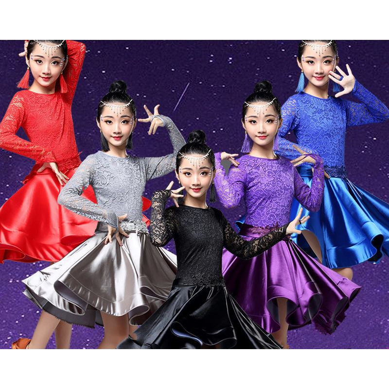 Latin Dance Dress For Girls Long Sleeve Lace Standard Ballroom Dancing Dresses For Kids Performance Wear Salsa Clothes