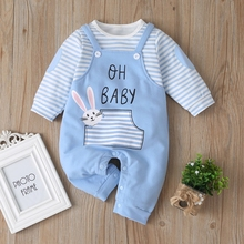 New Newborn Baby Clothes Boys Girls Striped Cotton Rabit Long Sleeve Spring Fall