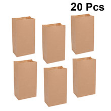 20Pc Kraft Paper Bags Square Design Portable DUtility Candy Containers Gift Bag Party Favors for Wedding Banquet Food Birthday(China)