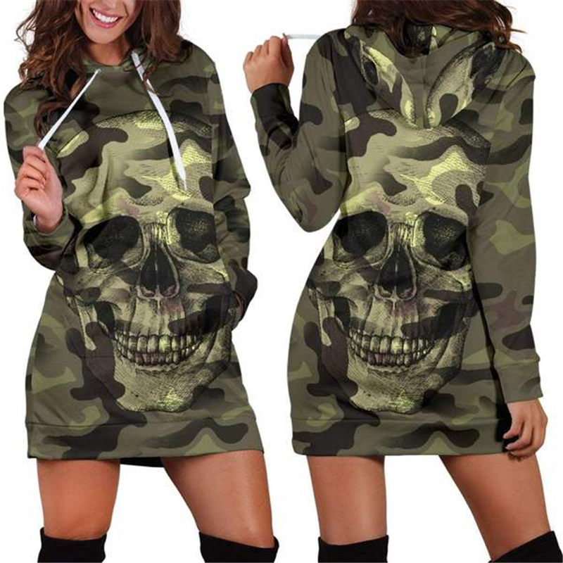 Novelty Skull Hoodie Dress Women 3D Hoodie Camouflage Fashion Streetwear Sweatshirt Pullover Tracksuits Customize Design Hoody