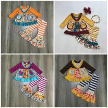 Mới Mùa Thu/Mùa Đông cho bé gái trẻ em quần áo Plum Orange họa tiết hoa sọc quần xù tay dài in trang phục Boutique