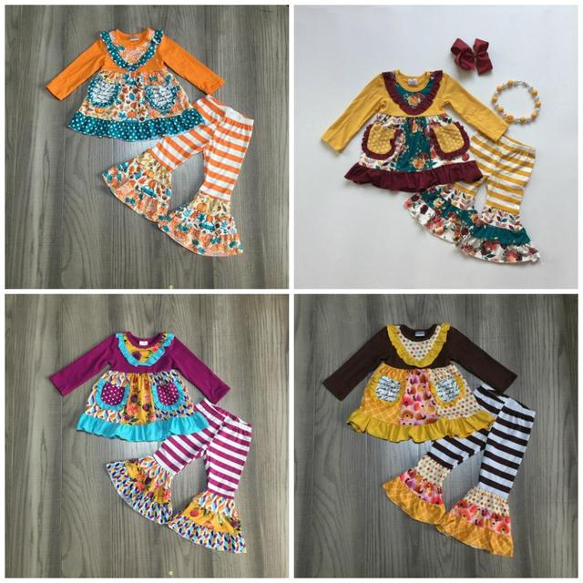 new fall/winter baby girls children clothes  plum orange floral flower stripe pants ruffles cotton long sleeve outfits boutique