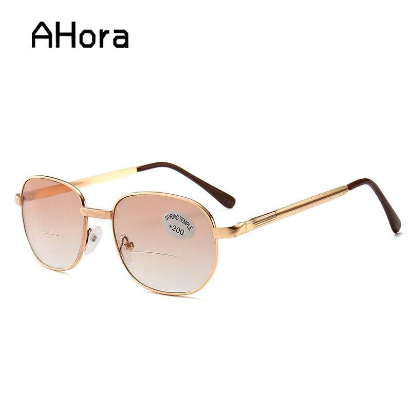 Ahora Alloy Bifocal Sun Reading Glasses Men Business Eyeglasses Sunglasses Prebyopia Eyewear Glasses Diopter +1.0 To +4.0 Unisex