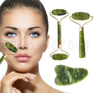 Jade Stone Facial Massage Roller For Face Eye Face Neck Natural Massager Guasha Scraper Thin Lift Beauty Slimming Tools Boxed