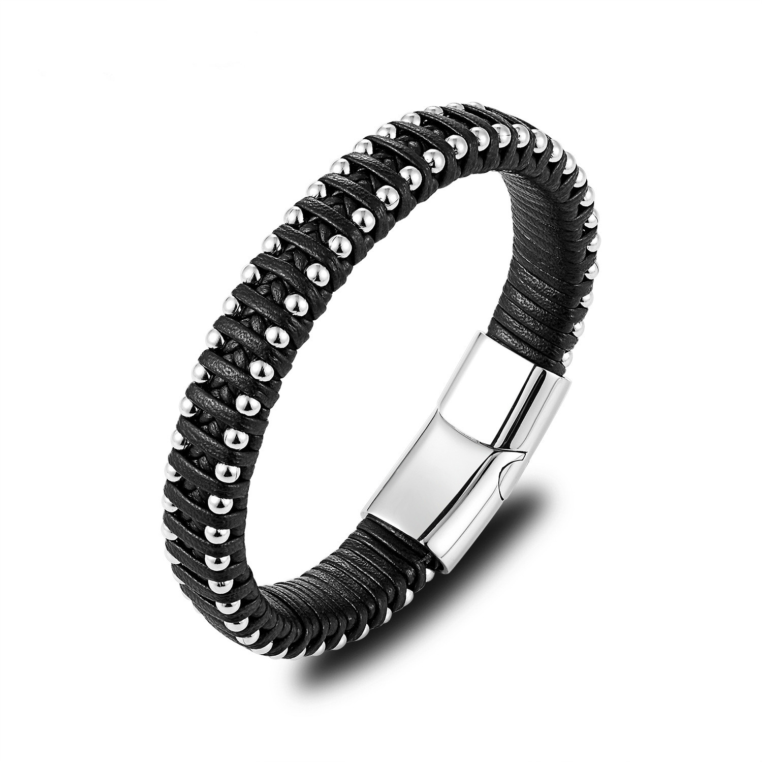 New Men s Leather Braided Bracelet Personality Stainless Steel Ball Individual Jewelry Top Grade Hand Feature