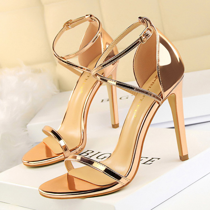 BIGTREE Shoes Extreme High Heels Female Stiletto Sexy Women Pumps Buckle Women Shoes Gold Silve Women Heels Women Sandals Female