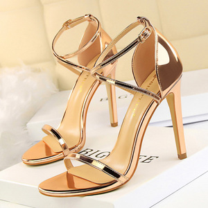 BIGTREE Shoes Extreme High Heels Female Stiletto Sexy Women Pumps Buckle Women Shoes Gold Silve Women Heels Women Sandals Female(China)