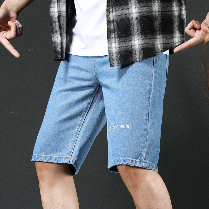 Summer New Style Denim Shorts Men's Korean-style Fit Slim Fit Handsome English Lettered Embroidered Solid Color Cowboy Shorts