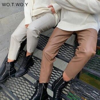 WOTWOY-pantalones de cuero suelto para mujer, pantalón con empalme de cintura alta, con cordón sólido, de piel sintética, rectos, para otoño, 2020