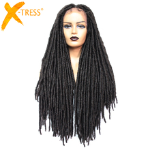 Wigs Hairstyle Dreadlock Braid Faux-Locs Brown X-TRESS Black Women Part Synthetic-Hair