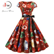 Women Christmas Party Dress robe femme Plus Size Elegant Vintage Short Sleeve Xmas Summer Dress Black Casual Midi Jurken Vestido