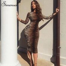 Simenual Sexy Fashion Zebra Print Women Maxi Dresses Long Sleeve 2019 Autumn Skinny Party Clubwear Hot Bodycon Slim Sale