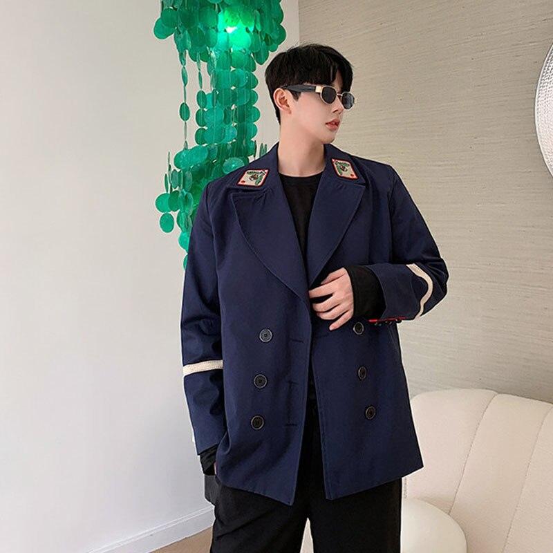Spring Autumn Male Casual Suit Blazer Men Embroidery Vintage College  Jacket Overcoat Women Streetwear Suit Coat Outerwear  B75