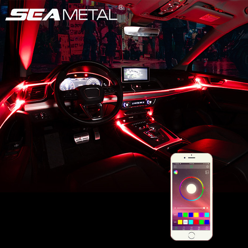 Universal <font><b>Car</b></font> Atmosphere Decorative Light Flexible Neon <font><b>EL</b></font> Wire Strips App Sound <font><b>Control</b></font> RGB Multicolor Auto Interior Light 12V image