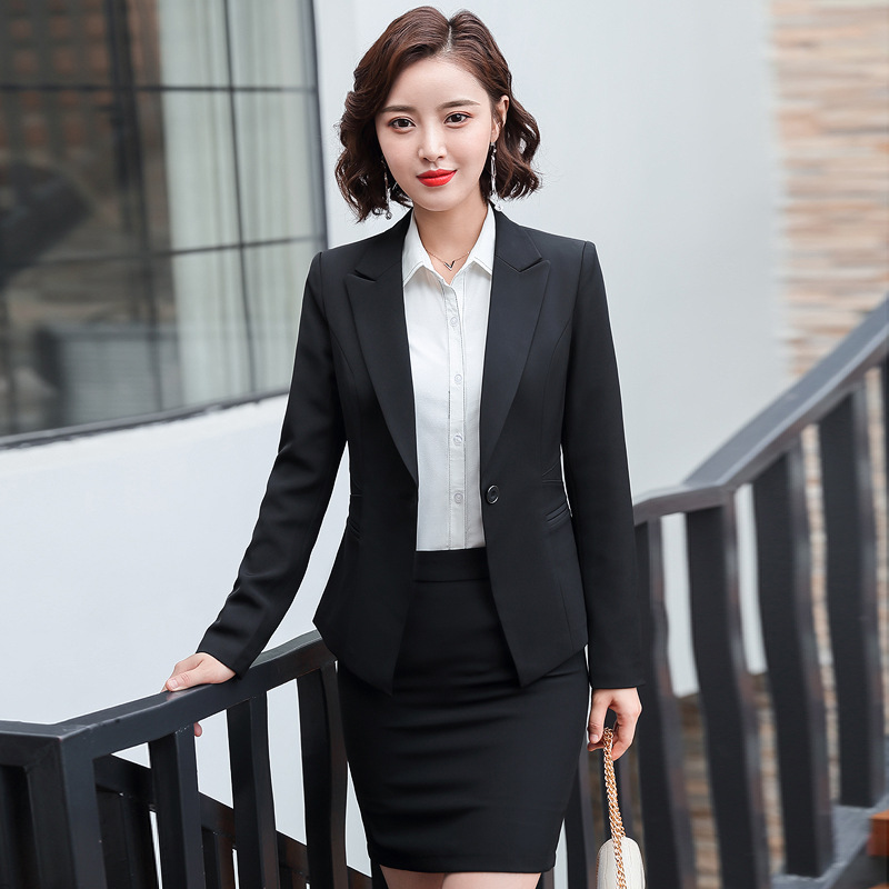 Professional Women's Suit Pants Suits Two-piece 2020 Spring And Autumn Casual Jacket Feminine Elegant Skirt Black Work Clothes