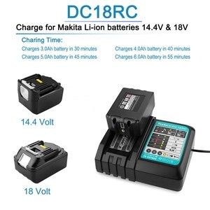 Image 2 - Cargador de batería Li Ion 3A corriente de carga para Makita 14,4 V 18V Bl1830 Bl1430 Dc18Rc Dc18Ra herramienta eléctrica Dc18Rct enchufe de carga Eu