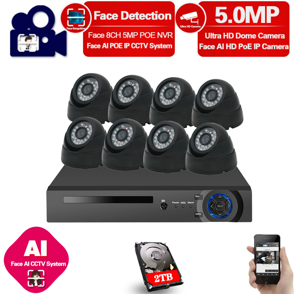Home Poe Cctv Security System Kit Nvr 8ch Outdoor Waterproof Video Surveillance Cameras 5mp Poe Ip Camera System Full Set Onvif